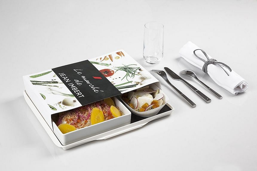 An undated handout photo of an a la carte meal designed by chef Jean Imbert for Air France.