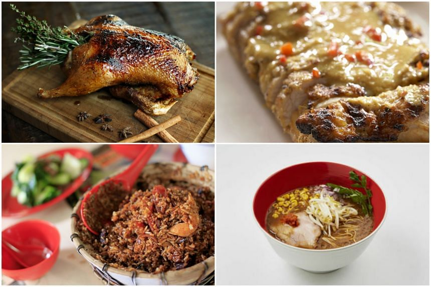 (Clockwise) Bar-Roque Bar & Grill's rotisserie duck, Ayam Panggang from Blue Ginger, Tsuta Ramen, Claypot rice from New Lucky Claypot Rice.