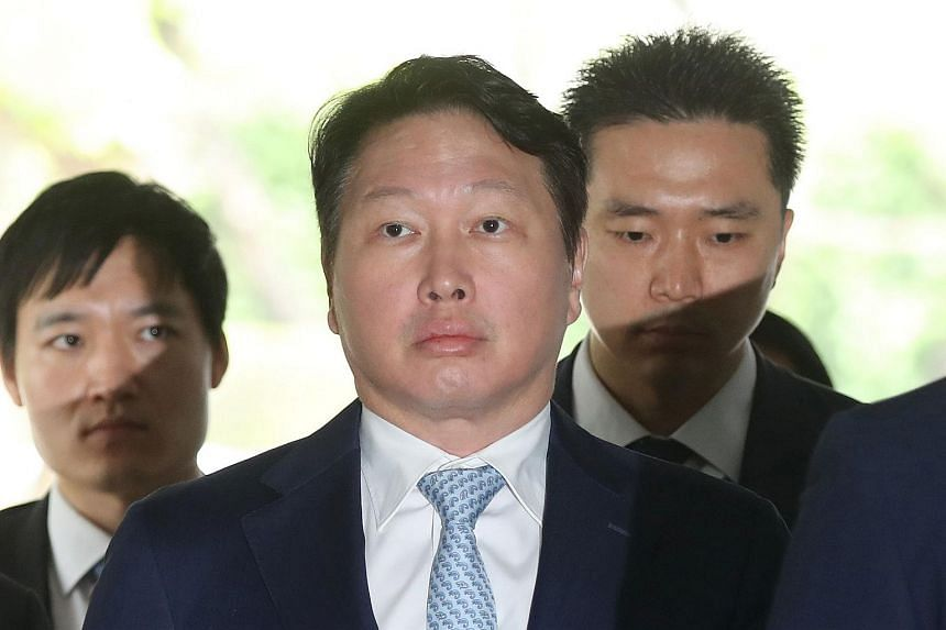 Chey Tae-Won, chairman of South Korea's second largest conglomerate SK Group, arrives at a court to testify at a trial of South Korea's ousted president Park Geun-Hye in Seoul on June 22, 2017.