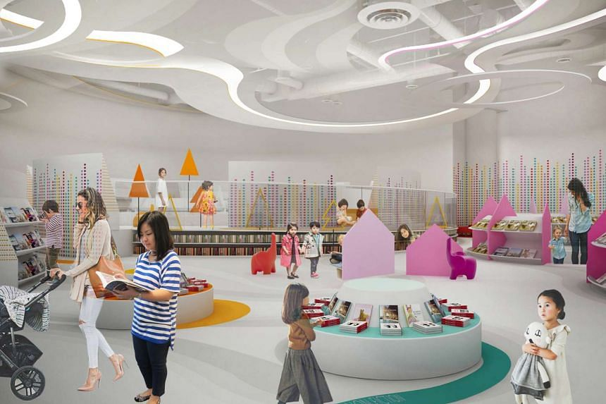 An artist's impression of the children's area at Bukit Panjang Public Library.