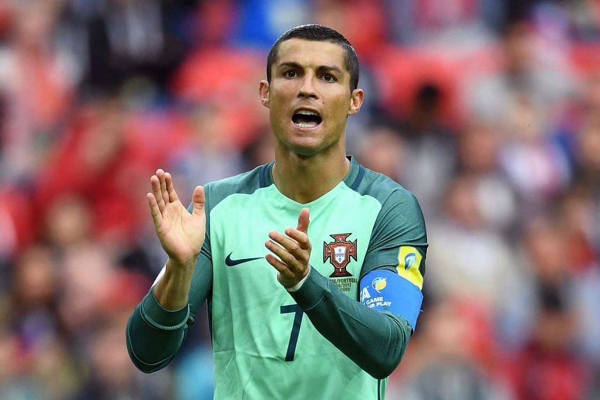 Ronaldo reacts during the match.