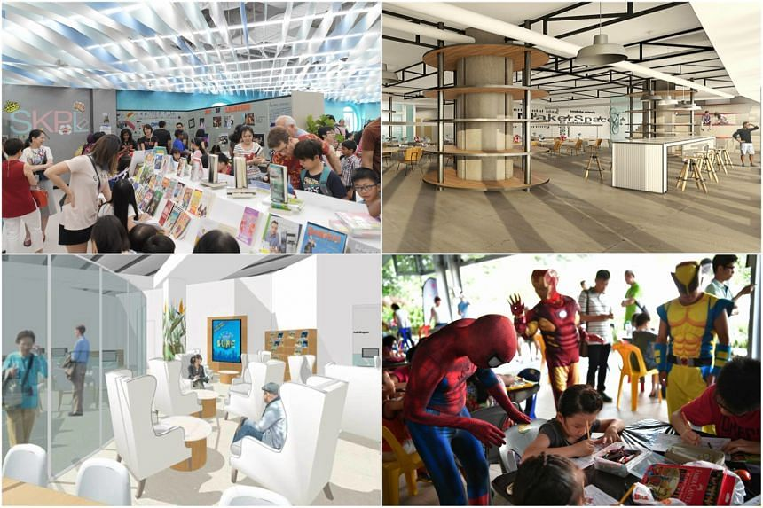 (Clockwise from left) The Tween area in Sengkang Public Library, an artist's impression of the Tampines Regional Library, the temporary container library at Punggol West and another artist's impression of Bedok Public Library.