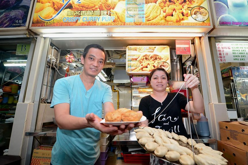 Owner of J2 Famous Crispy Curry Puff, Lee Meng Li, and his wife Kris Goh.