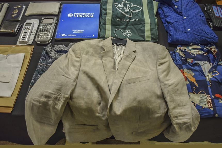 The belongings of Otto Warmbier, including the tan jacket he wore in North Korea, at his funeral service.