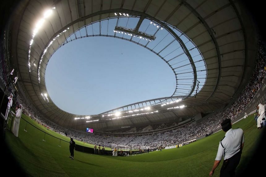 This picture, taken with a fish-eye lens on May 19, 2017, shows the Emir Cup final in Doha - the first match played at the Khalifa International Stadium, where a technician fell to his death in January during construction.