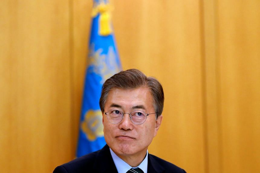 South Korean President Moon Jae In looks on, during an interview with Reuters, at the Presidential Blue House in Seoul, South Korea on June 22, 2017.