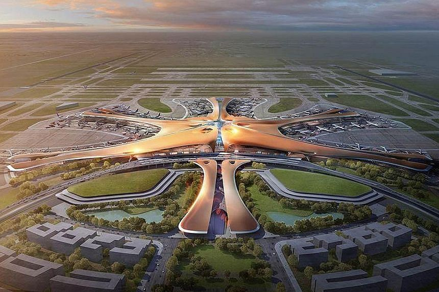 An artist's impression of the Beijing New Airport Terminal building. China Eastern and China Southern will each be allowed to capture 40 per cent of the new airport's passengers, gaining coveted time slots to Europe and the United States in Air China