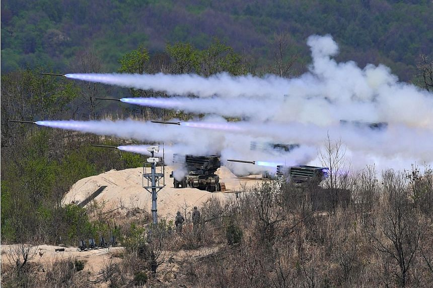A live-firing drill held by South Korea and the US in Pocheon, north-east of Seoul, in April. North Korea's Ambassador to India Kye Chun Yong said on Wednesday that Pyongyang was willing to consider a moratorium on nuclear and ballistic missile tests