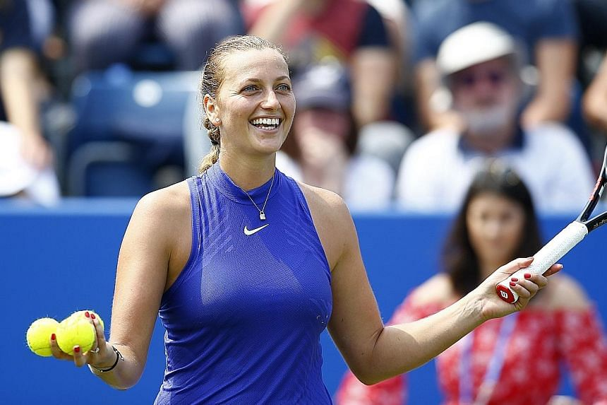Czech Petra Kvitova soaking up the adulation from the crowd at the Birmingham Classic. The former world No. 2 has become a sentimental favourite since suffering potential career-ending injuries last December.