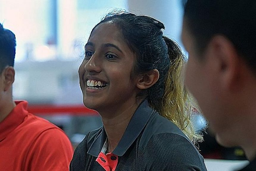 National sprinter Shanti Pereira sharing her experiences from two Asean Schools Games appearances with student-athletes at the Singapore Sports Hub.