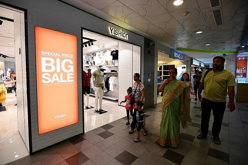 A clothing retailer in Tampines 1 mall having a sale yesterday. But increasingly, heartland shops are also jumping on the bandwagon of the Great Singapore Sale, and offering discounts of up to 50 per cent in the sale which started June 9 and ends Aug