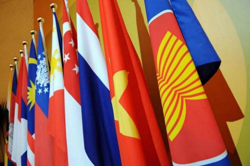 Flags of Asean member-countries.