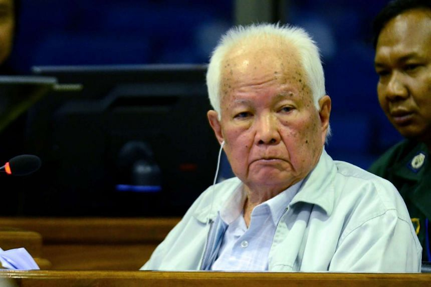 Former Khmer Rouge leader Khieu Samphan sits in the dock of the courtroom at the Extraordinary Chambers in the Courts of Cambodia on June 23, 2017.