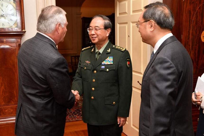 US Secretary of State Rex Tillerson (left) shaking hands with General Fang Fenghui, Chief of the People's Liberation Army's Joint Staff Department, ahead of the inaugural US-China Diplomatic and Security Dialogue at the US Department of State in Wa