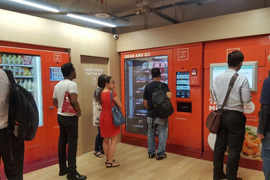 Customers queueing at the newly opened Lakeside MRT Station Chef-in-Box VendCafe.