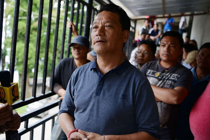 A June 14, 2017 photo shows Bimal Gurung taking part in a news conference in Darjeeling.