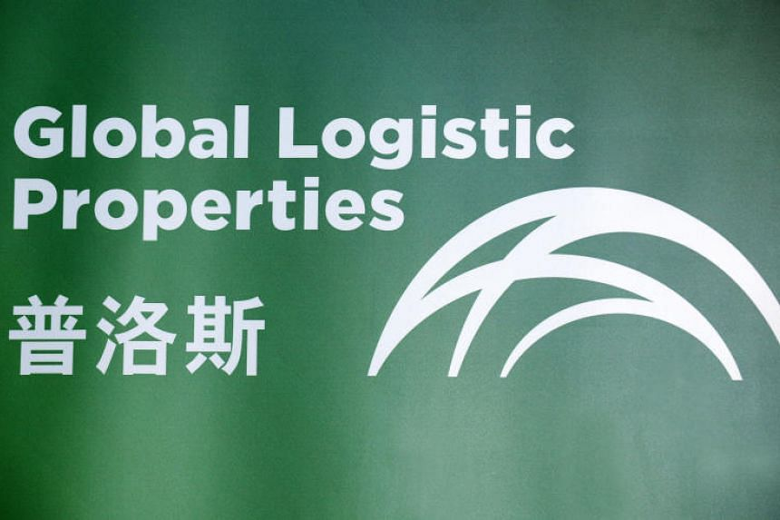 A file picture of the logo of Global Logistic Properties Ltd. displayed during its listing ceremony in 2010. PHOTO: BLOOMBERG