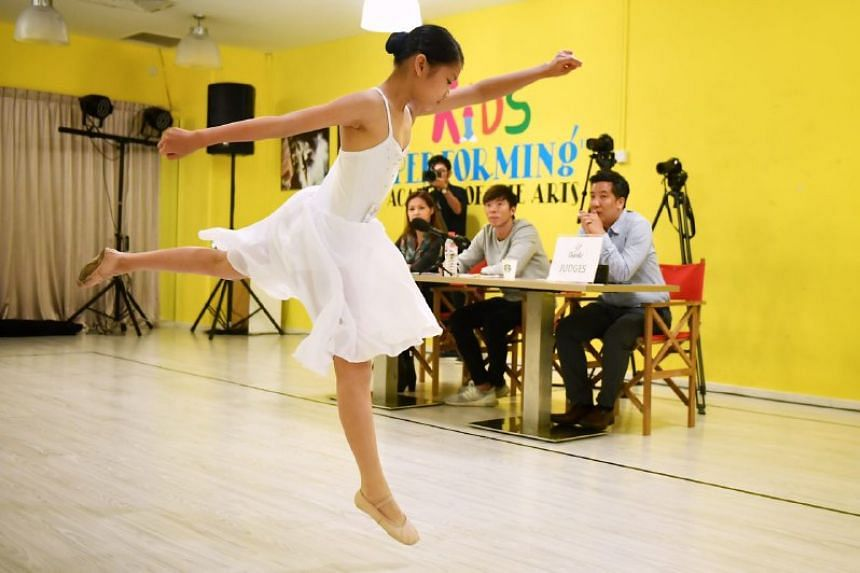 Amanda Mok, 11, Primary 5, performing a lyrical dance at the ChildAid audition.