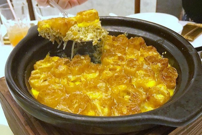Twice-Baked Golden Egg Gratin with Caramelised 'You Tiao'.