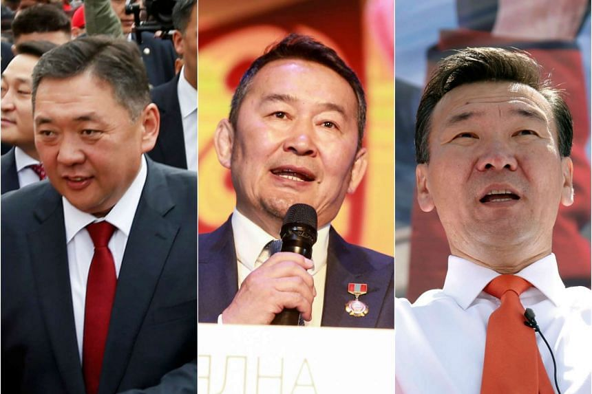 (From left) Mieygombo Enkhbold, Khaltmaa Battulga and Sainkhuu Ganbaatar are all vying to head the democratic nation of Mongolia.