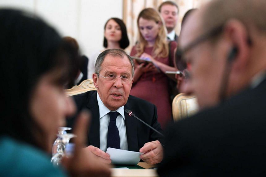 Sergei Lavrov meeting his French counterpart in Moscow on June 20, 2017.