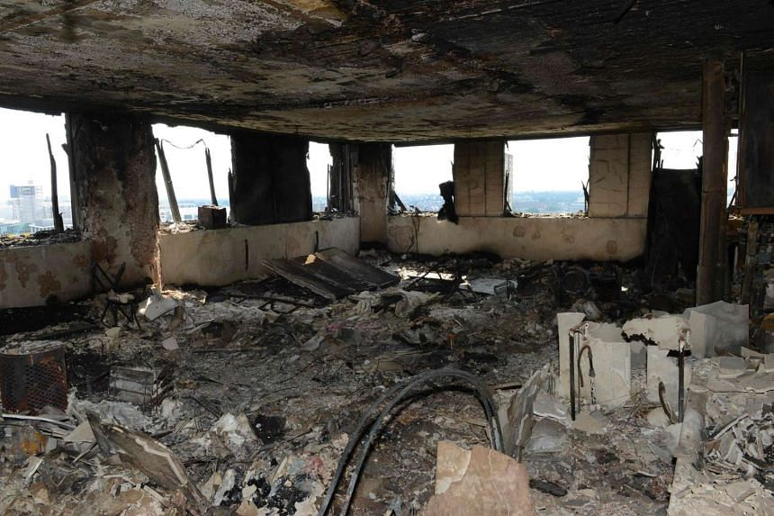 A handout picture from the Metropolitan Police showing the interior of Grenfell Tower in west London on June 16, 2017.