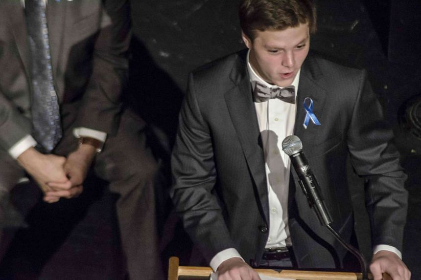 Austin Warmbier speaking at Wyoming High School as he attends the funeral of his brother, Otto Warmbier.