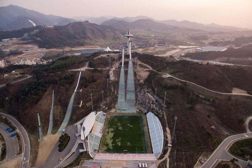 An aerial general view taken on April 30, 2017 shows the ski jumping venue of the 2018 Pyeongchang Winter Olympics in Pyeongchang.