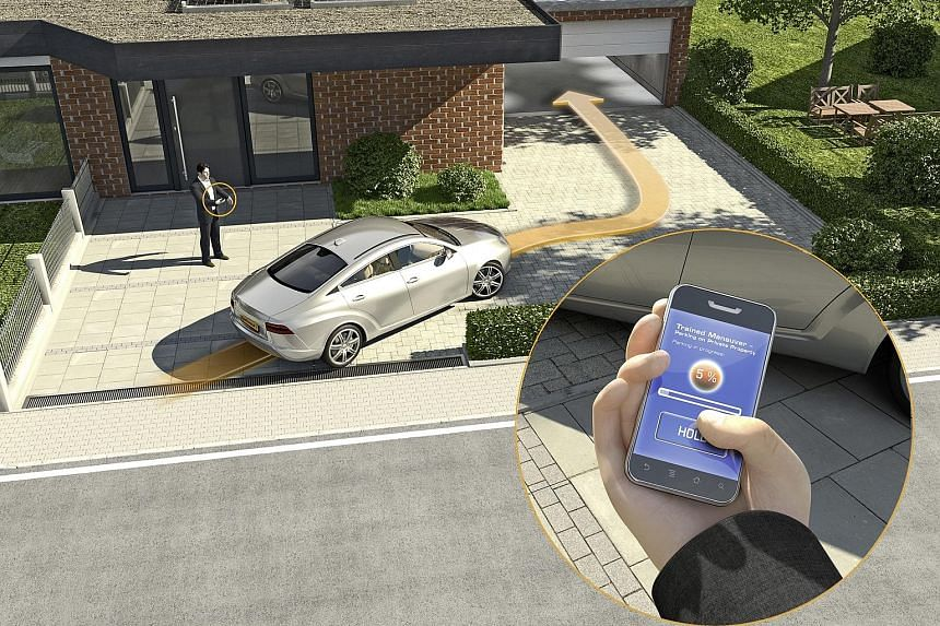 """With an app on his smartphone, a driver can """"teach"""" his vehicle where to park using GPS, sensors and cameras mounted around the car."""