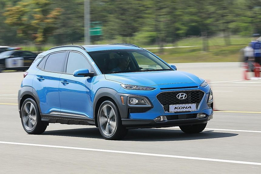 The Kona has a bold fusion of stylised curves and familiar Hyundai design cues to give a vibrant image, while a premium infotainment system takes centre stage above the dashboard.
