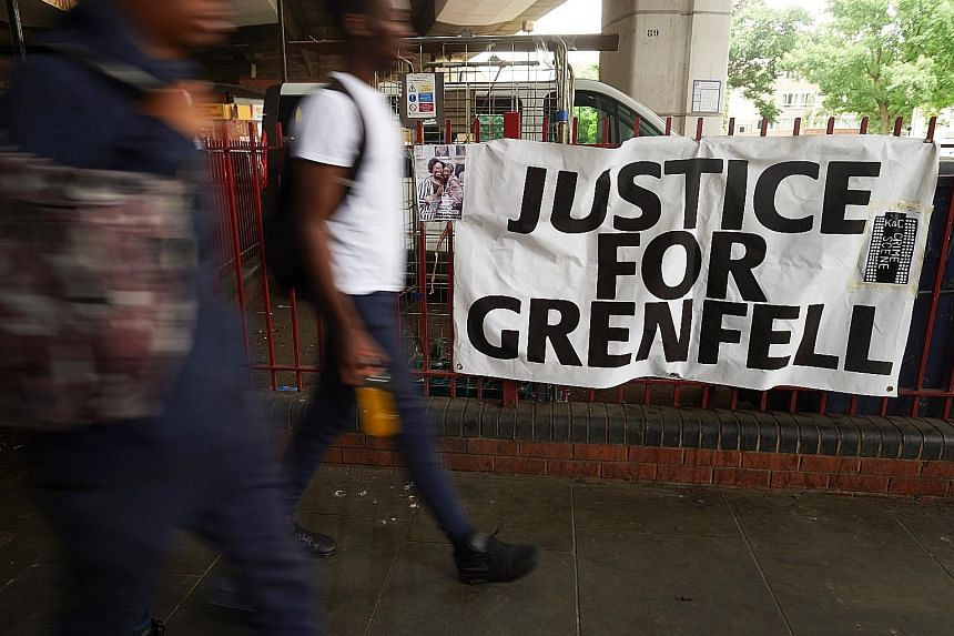 (Left) The burnt-out upper floors at what remains of the Grenfell Tower block in west London stand in stark contrast to the lower floors with the cladding still intact. The cladding has been found to be combustible, as Londoners demand justice for th