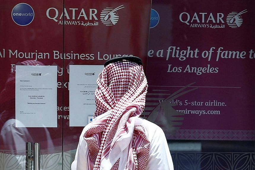The Qatar Airways office in Riyadh. The carrier was named the world's top airline for passenger service by Skytrax at the Paris Air Show this week, but could face business pressure should the diplomatic crisis between Qatar and its neighbours drag ou