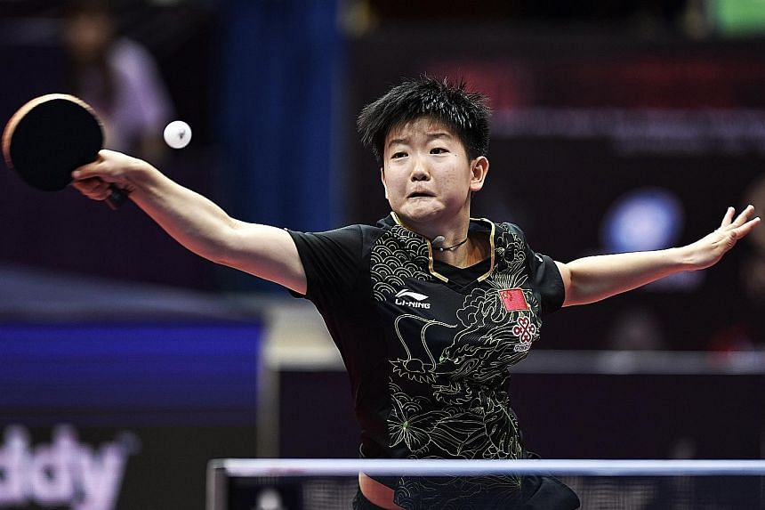 Sun Yingsha returning the ball to Feng Tianwei (not pictured) during the quarter-finals of the China Open yesterday. Sun won in straight sets.