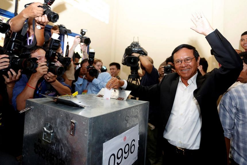 President of the opposition Cambodia National Rescue Party, Kem Sokha, casting his vote during local elections in Kandal province, Cambodia on June 4, 2017.