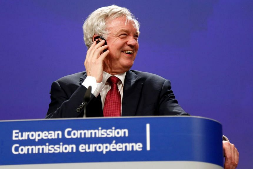 Britain's Secretary of State for Exiting the European Union David Davis speaking at the European Commission after the first day of Brexit talks in Brussels, Belgium, on June 19, 2017.