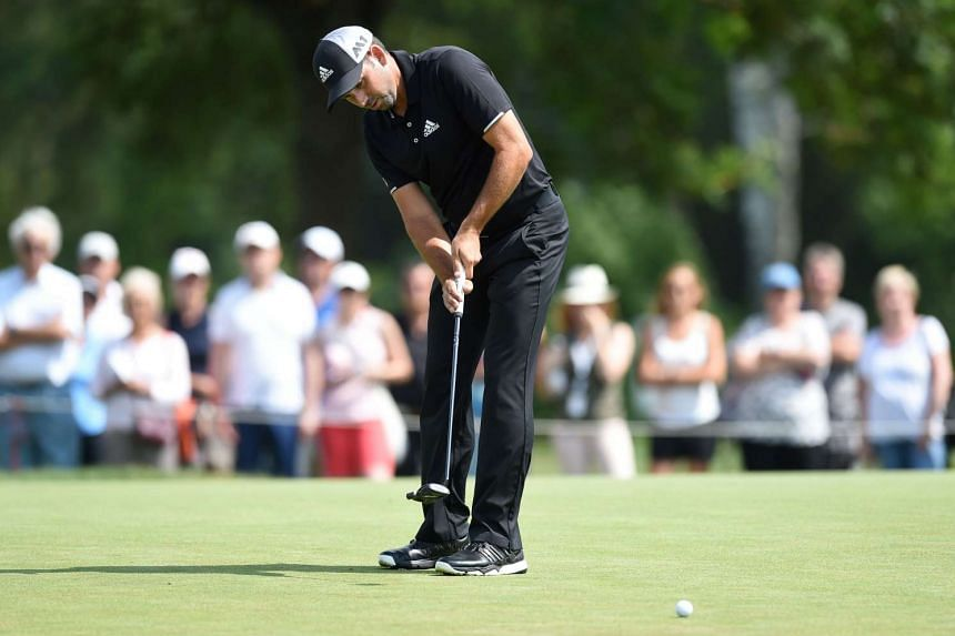 Garcia puts the ball during the final day of the BMW International Open.