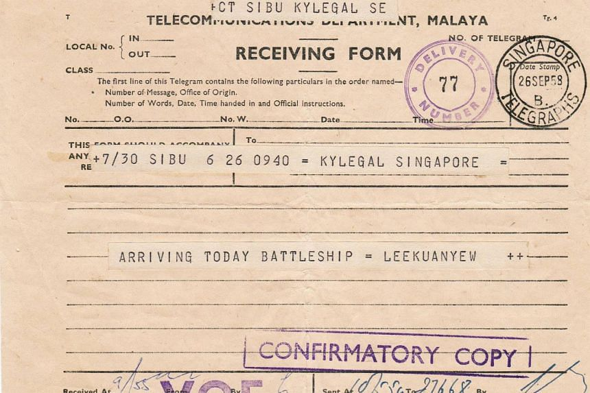A telegram sent by the late Mr Lee Kuan Yew in 1958.