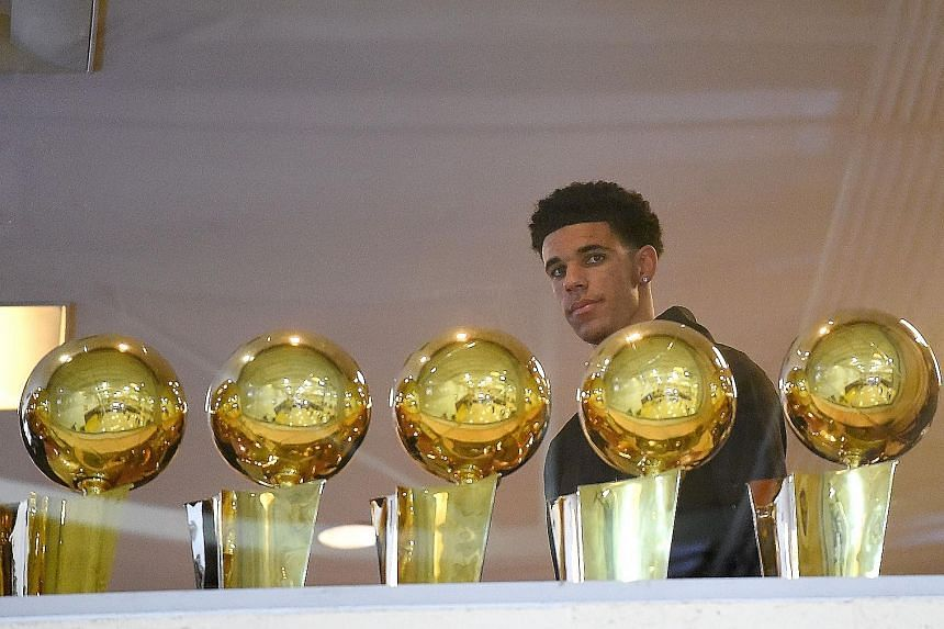 Point guard Lonzo Ball at a press conference, having been selected by the Los Angeles Lakers as the overall No. 2 draft pick.