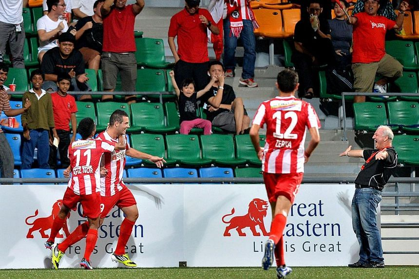 Tanjong Pagar United celebrating a goal in the S-League in 2013. The Jaguars may return to the competition as early as next year.