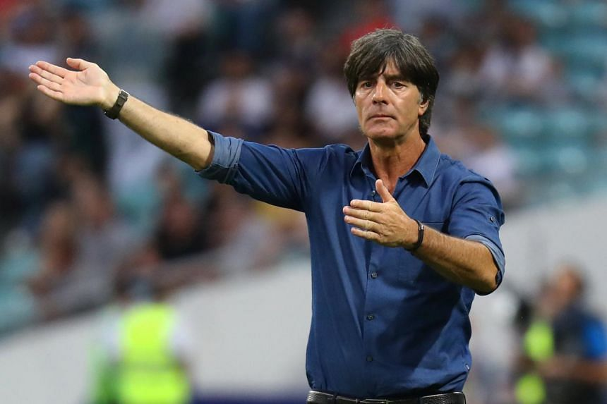 Germany coach Joachim Low gesturing during the Confederations Cup match against Cameroon on June 25, 2017.