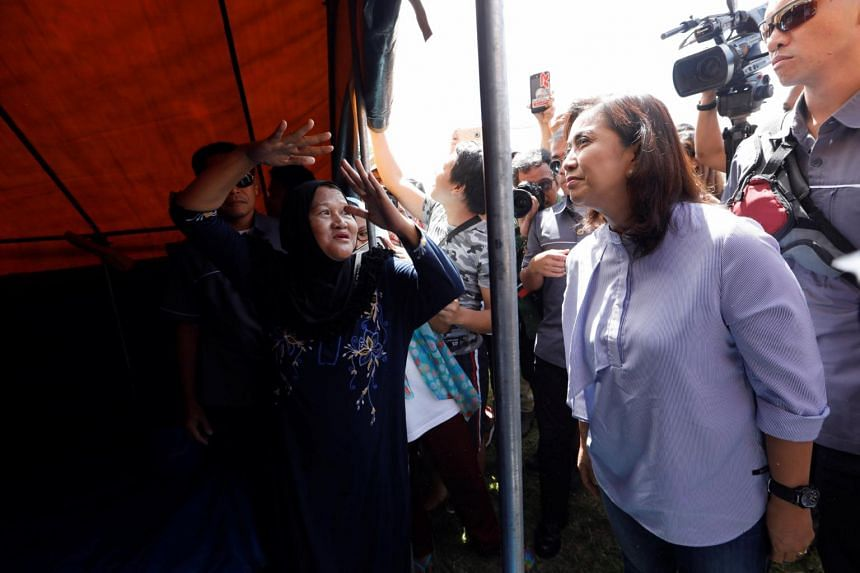 Philippines Vice-President Leni Robredo meeting evacuated families at an evacuation center outside Marawi, Philippines on June 26, 2017.
