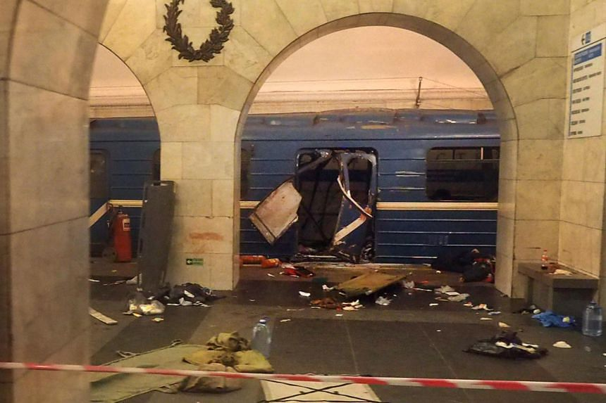 The damaged train carriage at the Technological Institute metro station in Saint Petersburg following the explosion on April 3, 2017.