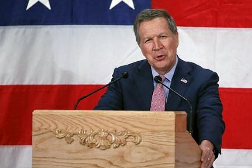Ohio Governor John Kasich speaks during a Republican presidential campaign event in 2016.