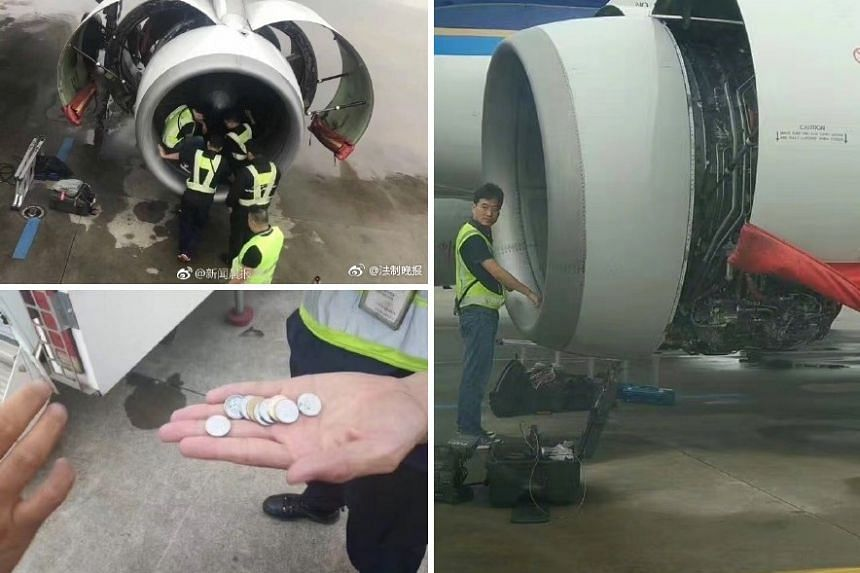 The flight to Guangzhou was held up after passengers saw the woman throwing coins at the engine.