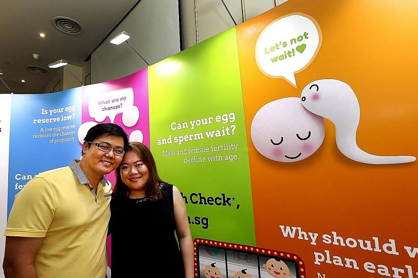 A fertility check last year revealed Mrs Joanna Lim, seen here with husband Jeffrey, had endometriosis, which made it difficult for her to conceive. The pair are now preparing for intra-uterine insemination.
