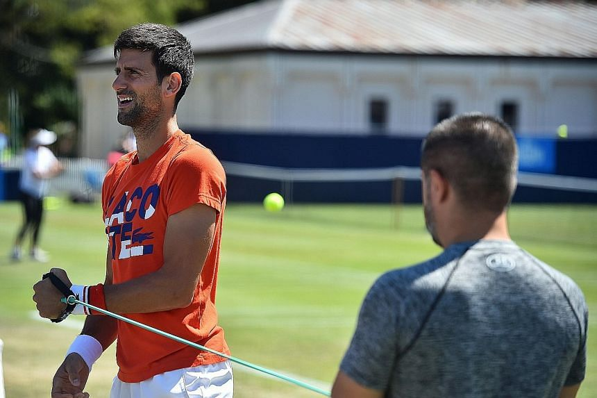Novak Djokovic undergoing strength training yesterday before tackling the Eastbourne International grass-court tournament ahead of Wimbledon.