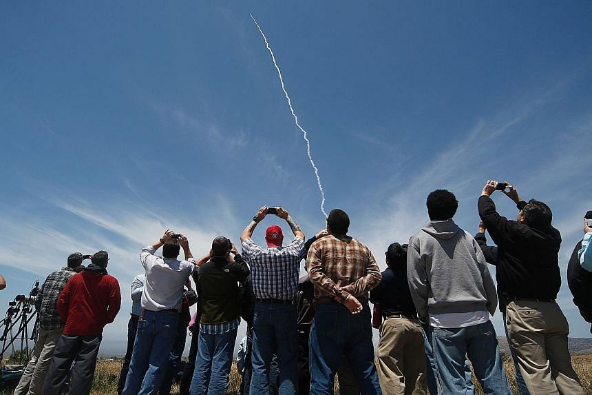 A ground-based interceptor missile being launched in California on May 30. It successfully intercepted an ICBM mock-up in a test of the system.