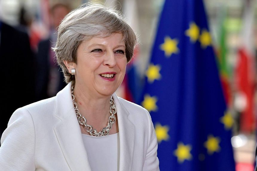 British Prime Minister Theresa May arrives at the EU summit in Brussels, Belgium.