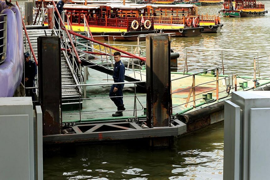 SCDF officers searching for a 27-year-old man who fell into the water at Clarke Quay since last night.