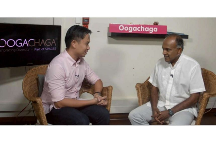 Minister for Law and Home Affairs K Shanmugam speaks to Oogachaga, a non-profit, professional counselling support and personal development organisation working with LGBT+ individuals.